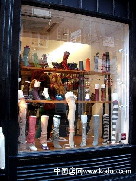 袜子专卖店门头,橱窗装修设计效果图